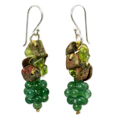Handmade Unakite and Peridot Cluster Earrings