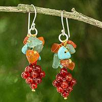 Carnelian and aventurine cluster earrings, 'Heavenly Gift' - Handmade Carnelian and Aventurine Cluster Earrings