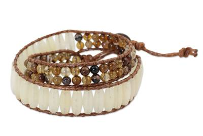 Handcrafted Quartz and Agate Beaded Wrap Bracelet