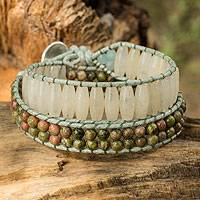 Quartz and unakite wrap bracelet, 'Ice Forest' - Handcrafted Multi Gem Beaded Wrap Bracelet