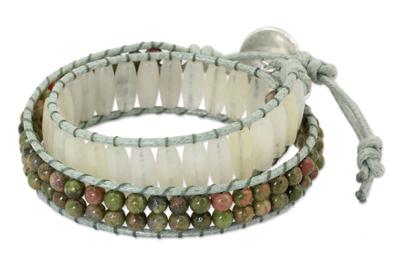 Quartz and unakite wrap bracelet, 'Ice Forest' - Handcrafted Multi Gem Beaded Wrap Bracelet