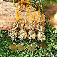 Brass ornaments, 'Buddhist Bells' (4 inch, set of 4) - Set of 4 Brass Ornaments Crafted by Hand (4 Inch)