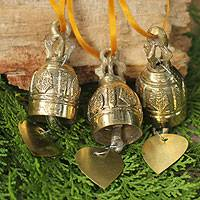 Brass ornaments, 'Buddhist Bells' (4.5 inch, set of 3) - Set of 3 Brass Ornaments Crafted by Hand (4.5 Inch)