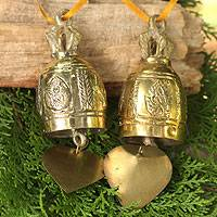 Brass ornament, 'Buddhist Bell' - Pair of Unique Brass Bell Ornaments