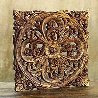 Teak relief panel, 'Flower Legend' - Handcrafted Floral Teakwood Wall Panel