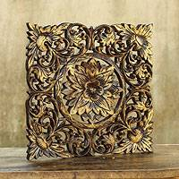 Teak relief panel, 'Thai Sunflower' - Handcrafted Floral Teakwood Wall Panel