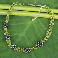 Cultured pearl and peridot beaded necklace, 'Heaven's Gift' - Handmade Pearl and Peridot Beaded Necklace
