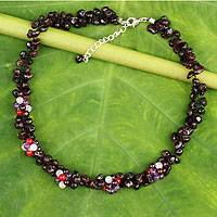 Garnet and amethyst beaded necklace, 'Heaven's Gift' - Thai Handmade Garnet and Amethyst Beaded Necklace