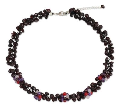 Thai Handmade Garnet and Amethyst Beaded Necklace