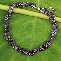 Amethyst and garnet beaded necklace, 'Heaven's Gift' - Thai Handmade Amethyst Necklace with Garnet Clusters