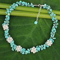 Cultured pearl beaded necklace, 'Heaven's Gift' - Handcrafted Pearl and Turquoise Colored Beaded Necklace