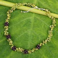 Peridot and garnet beaded necklace, 'Heaven's Gift' - Thai Handmade Peridot Necklace with Garnet Clusters