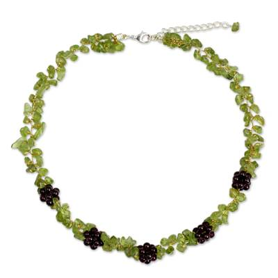 Thai Handmade Peridot Necklace with Garnet Clusters