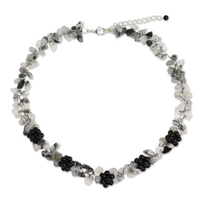 Tourmalinated quartz and onyx beaded necklace, 'Heaven's Gift' - Handmade Tourmalinated Quartz and Onyx Necklace