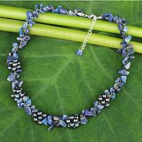 Lapis lazuli and cultured pearl beaded necklace, 'Heaven's Gift' - Handmade Beaded Necklace with Clusters of Gemstone