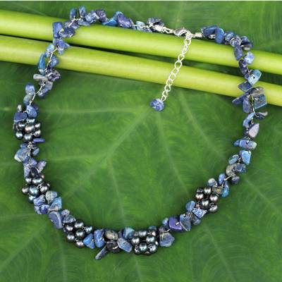 Lapis lazuli and cultured pearl beaded necklace, 'Heaven's Gift' - Thai Handmade Lapis Lazuli Necklace with Pearl Clusters