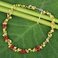 Peridot and carnelian beaded necklace, 'Heaven's Gift' - Thai Handmade Carnelian Cluster Peridot and Quartz Necklace