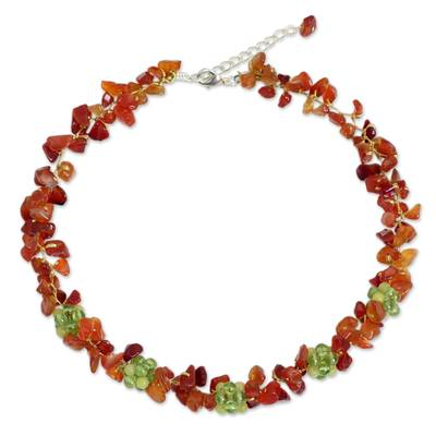 Thai Handmade Carnelian Necklace with Peridot Clusters
