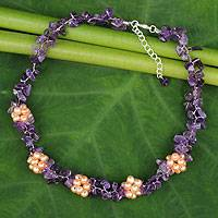 Amethyst and freshwater pearl beaded necklace, 'Heaven's Gift' - Thai Handmade Amethyst Necklace with Pearl Clusters