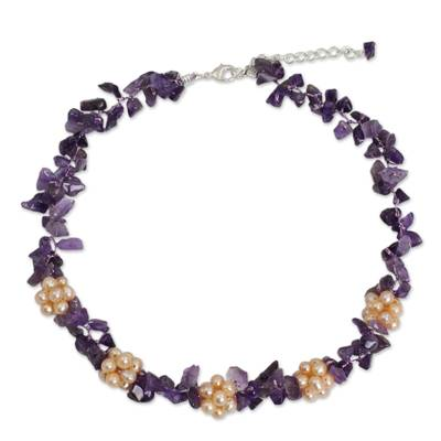 Thai Handmade Amethyst Necklace with Pearl Clusters