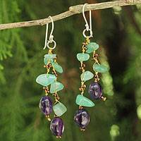 Aventurine and amethyst beaded earrings, 'Mystic Jungle'