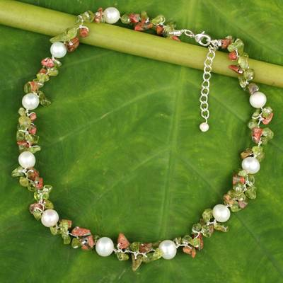 Cultured pearl and peridot beaded choker, 'Luscious Chic' - Hand Knotted Pearl Peridot and Unakite Choker Necklace