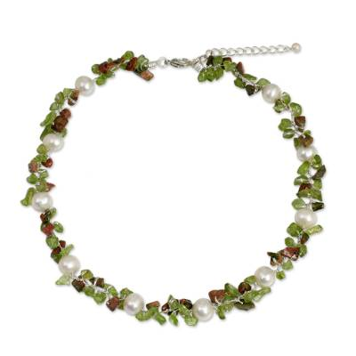 Hand Knotted Pearl Peridot and Unakite Choker Necklace