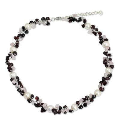 Hand Knotted Pearl Garnet and Rose Quartz Choker Necklace