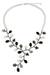 Cultured pearl and onyx beaded necklace, 'Gray Coral' - Handcrafted Pearl and Multi Gems Beaded Necklace (image 2a) thumbail