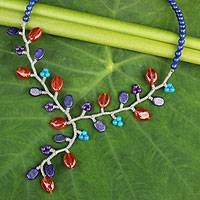 Lapis lazuli and carnelian beaded necklace, 'Blue Coral' - Multi Gemstone Handcrafted Necklace
