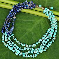 Lapis lazuli beaded necklace, 'Rivers of Blue'