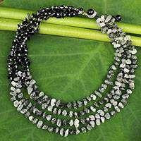 Onyx and tourmalinated quartz beaded necklace, 'Rivers of Black' - Handcrafted Onyx and Tourmalinated Quartz Beaded Necklace