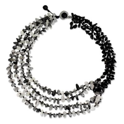 Handcrafted Onyx and Tourmalinated Quartz Beaded Necklace