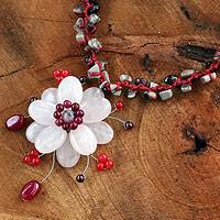 Rose quartz and garnet choker, 'Pink Bloom' - Hand Crafted Rose Quartz and Garnet Choker