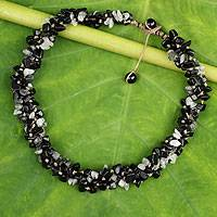 Onyx and tourmalinated quartz beaded necklace, 'Black Glam'