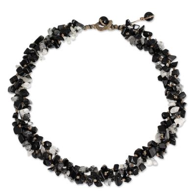 Artisan Crafted Onyx Tourmalinated Quartz Beaded Necklace