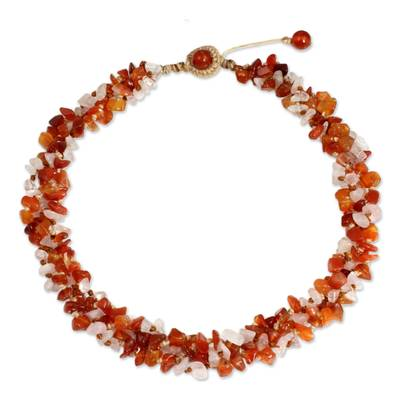 Artisan Crafted Necklace Carnelian and Rose Quartz