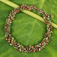 Peridot and unakite beaded necklace, 'Green Glam' - Fair Trade jewellery Peridot and Unakite Necklace