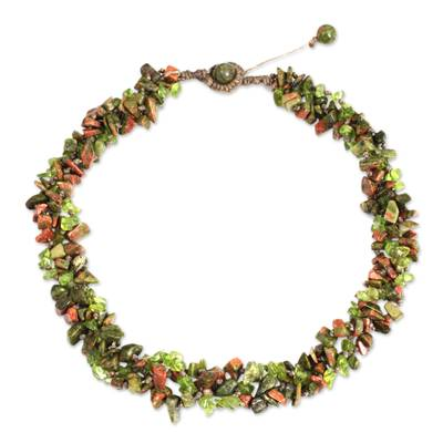 Fair Trade Jewelry Peridot and Unakite Necklace