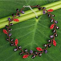 Amethyst and garnet beaded necklace, 'Sweet Red Ivy' - Artisan Crafted Multi-gemstone Necklace