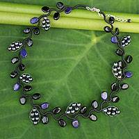 Cultured pearl and onyx beaded necklace, 'Sweet Gray Ivy'