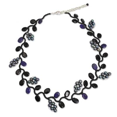 Cultured pearl and onyx beaded necklace, 'Sweet Gray Ivy' - Artisan Jewelry Pearl and Gems Necklace