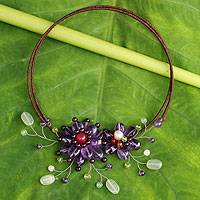Amethyst and aventurine flower necklace, 'Lilac Sonata' - Flowered Artisan Amethyst, Garnet, and Peridot Necklace