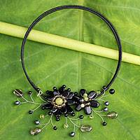 Onyx and cultured pearl flower necklace, 'Black Sonata'