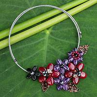 Amethyst and onyx flower necklace, 'Purple Red Bouquet'