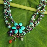 Amethyst and carnelian necklace, 'Festive Flowers' - Multigem Floral Necklace Handcrafted in Thailand