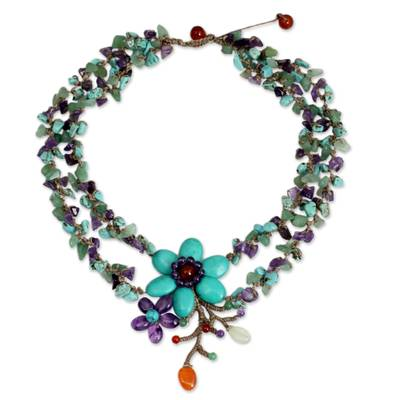 Amethyst and carnelian necklace, 'Festive Flowers' - Thai Handcrafted Amethyst and Carnelian Floral Necklace
