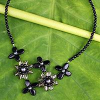 Onyx and cultured pearl flower necklace, 'Quintet' - Gray Pearl Onyx and Smoky Quartz Necklace Flower Jewelry