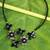 Onyx and cultured pearl flower necklace, 'Quintet' - Gray Pearl Onyx and Smoky Quartz Necklace Flower Jewelry (image 2) thumbail