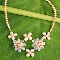 Cultured pearl and rose quartz flower necklace, 'Quintet' - Peach Pearl and Rose Quartz Flower jewellery Necklace